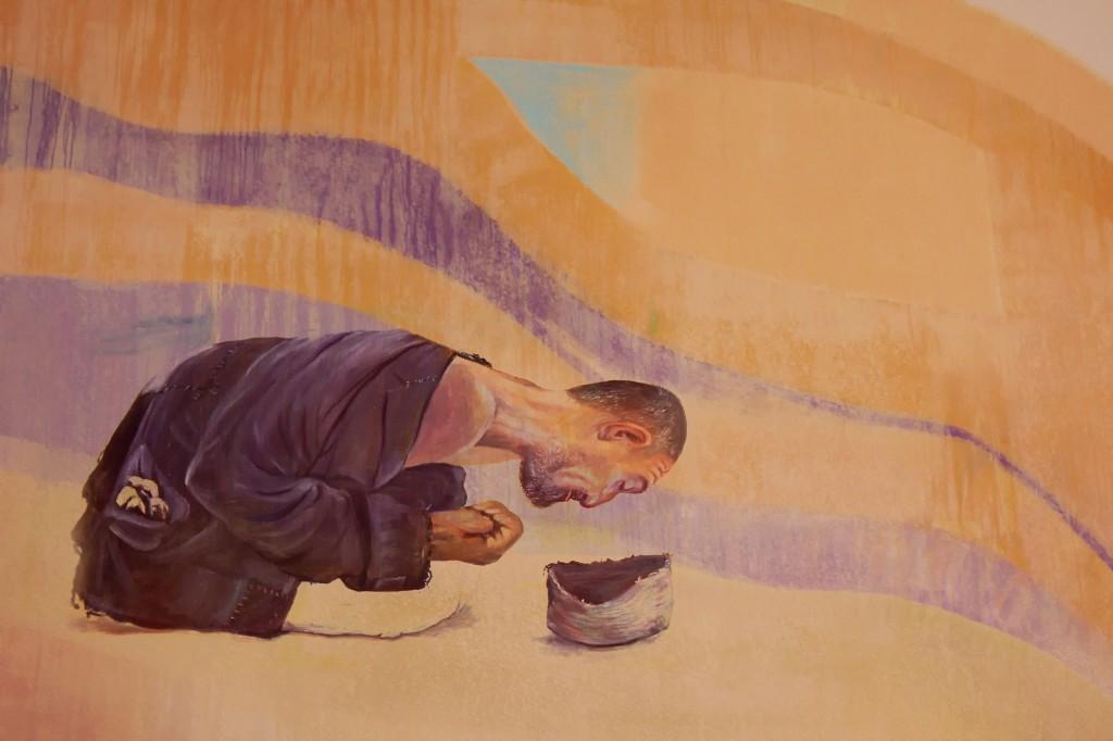 Beggar painted on wall Peace, September 2103 010 Final